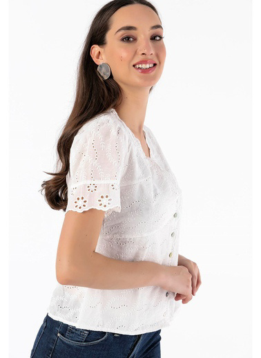 Tiffany&Tomato Robali Vual Bluz Beyaz